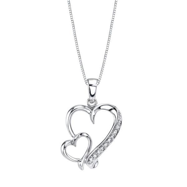 Diamond Accented Double Heart Pendant