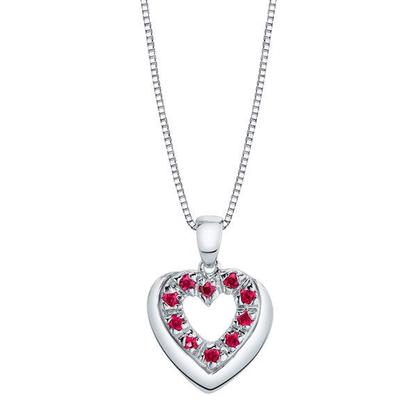 14Kt White Gold Natural Ruby Heart Pendant