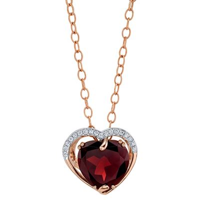 14Kt Rose gold Pyrope Garnet and Diamond Pendant