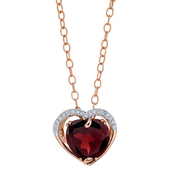 14Kt Rose gold Pyrope Garnet and Diamond Pendant