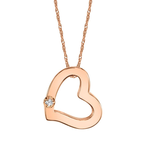 14Kt Rose Gold Tilted Heart with one Diamond