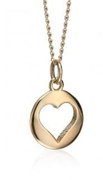 Yellow Gold Open Heart Disc Pendant