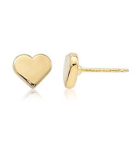 14kt Yellow Gold Heart Stud Earrings