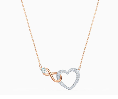 Swarovski infinity and heart necklace
