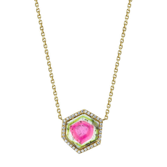 14kt Yellow Gold Watermelon Tourmaline Slab Necklace with a Diamond Halo