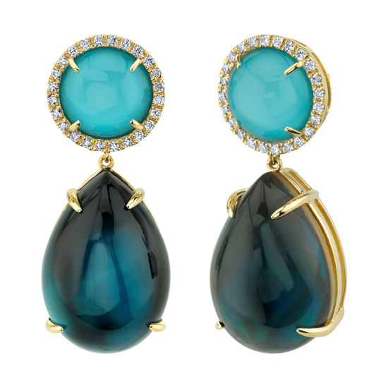 14kt Yellow Gold Cabochon Drop London Blue Topaz, Turquoise, Mother of Pearl and Diamond Earrings