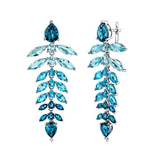 14kt White Gold Cascading Blue Topaz Dangling Earrings