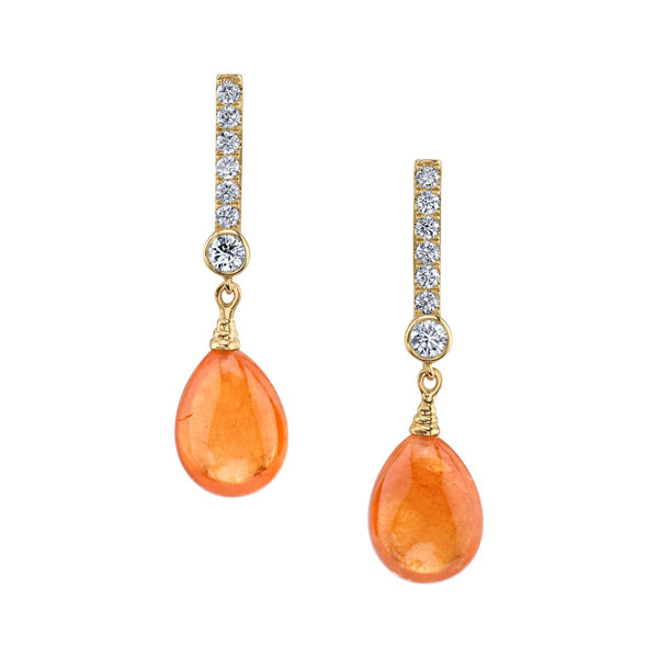 14kt Yellow Gold Spessartite Garnet and Diamond Drop Earrings