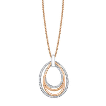 14kt Rose and White Gold Diamond Layered Loop Pendant