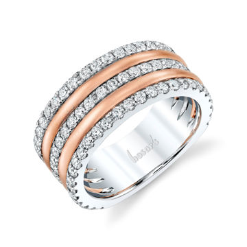14kt Rose and White Gold Triple Row Band