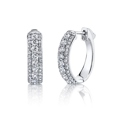 14kt White Gold Triple Row Diamond Hoops