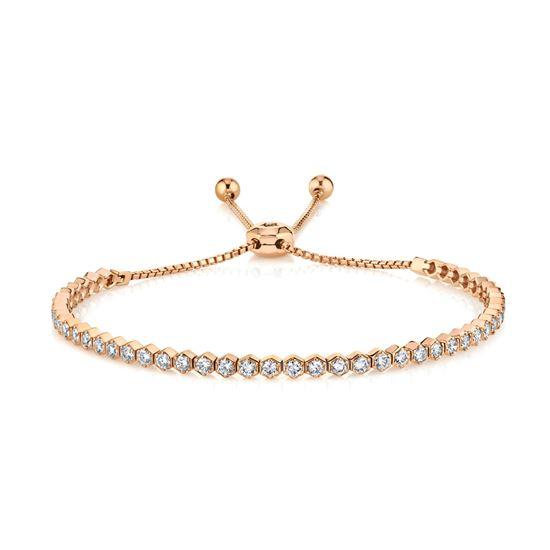 14kt Rose Gold Diamond Hexagon Bolo Bracelet