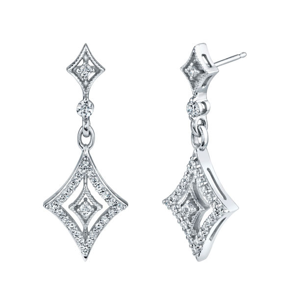 14kt White Gold Dramatic Diamond Drop Earrings