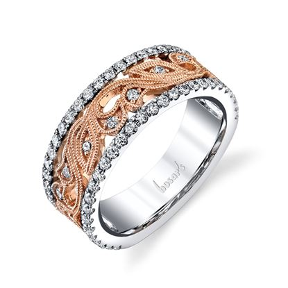 14kt Rose and White Gold Vintage Diamond Floral Ring