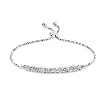 14kt White Gold Pave Set Diamond Bar Bolo Bracelet