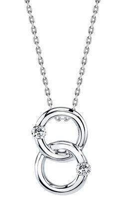 14kt White Gold Interlocking Two Stone Diamond Pendant