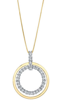 14kt Two Tone Double Circle Diamond Pendant
