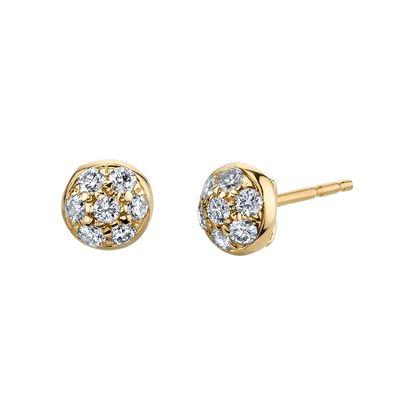 14kt Yellow Domed Diamond Cluster Stud Earrings