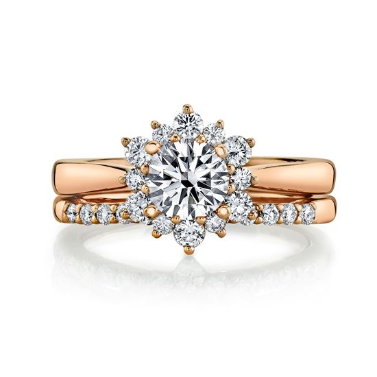 14kt Rose Gold Scalloped Halo Engagement Ring