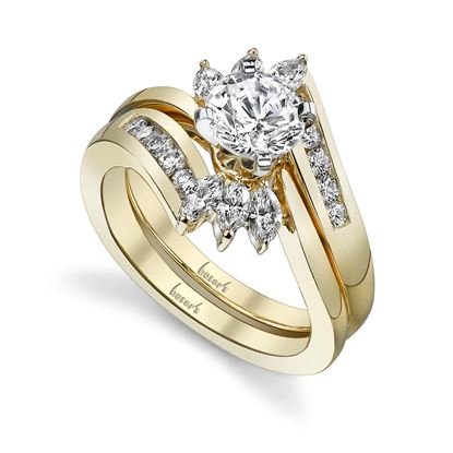 14kt Yellow Gold Marquise and Round Diamond Engagement Ring