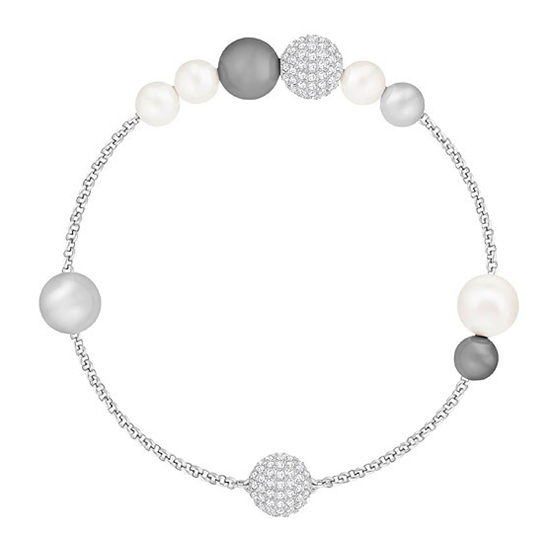 Remix White and Grey Crystal Pearl Bracelet