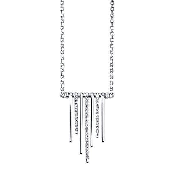 14kt White Gold Alternating Diamond and Polished Bar Necklace