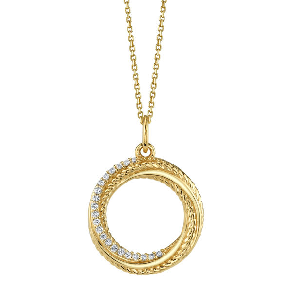 14kt Yellow Gold Intertwined Circles with Diamonds