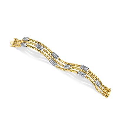 18kt Yellow and White Gold Three Row Diamond Bracelet