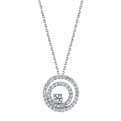 14kt White Gold Double Diamond Circle with Diamond Accent