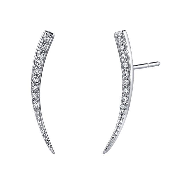 14kt White Gold Diamond Ear Climbers