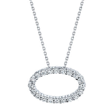 14kt White Gold Diamond Oval Pendant