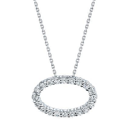 14kt White Gold Diamond Oval Pendant