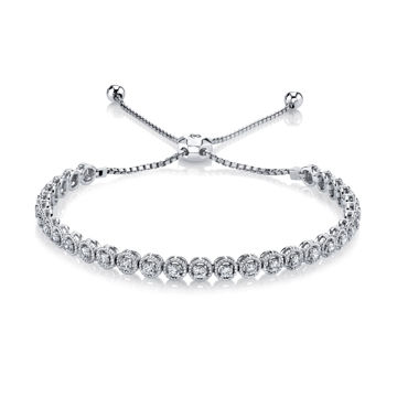 14kt White Gold Rope Detailed Diamond Bolo Bracelet