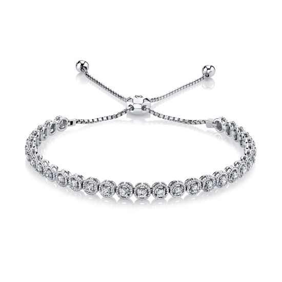 14kt White Gold Rope Detailed Diamond Bolo Bracelet
