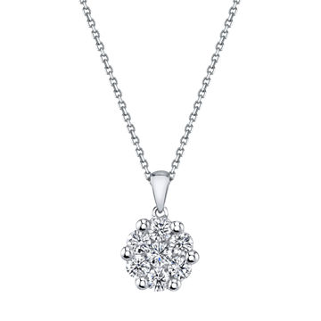 14kt White Gold Diamond Cluster Pendant