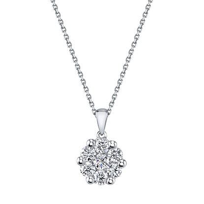 14kt White Gold Diamond Cluster Pendant