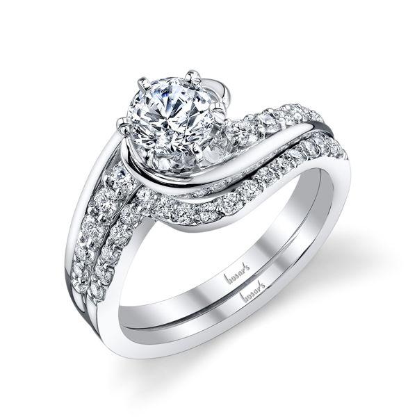 14kt White Gold Swirling Engagement Ring