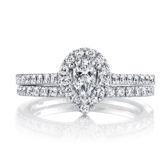 14kt White Gold Pear Shaped Halo Engagement Ring