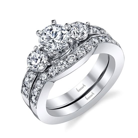 14kt White Gold Classic Three Stone Engagement Ring