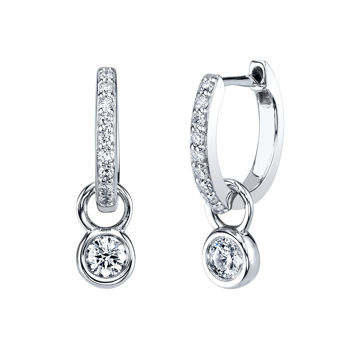 14kt White Gold Two in One Diamond Hoop Earrings