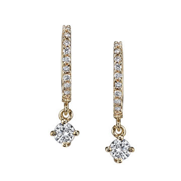 14kt Yellow Gold Diamond Huggies with Prong Set Diamond Drop