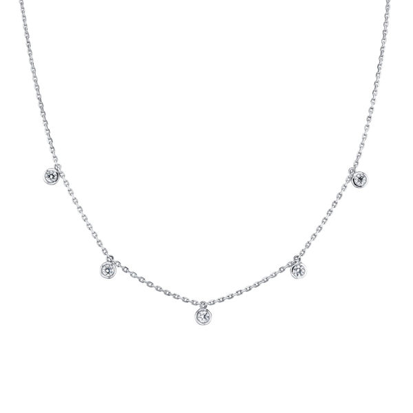 14kt White Gold Cleopatra Bezel Set Diamond Necklace