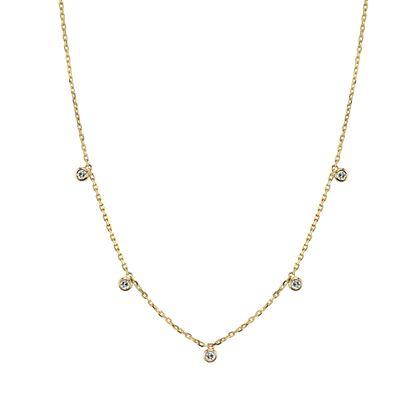 14kt Yellow Gold Cleopatra Bezel Set Diamond Necklace