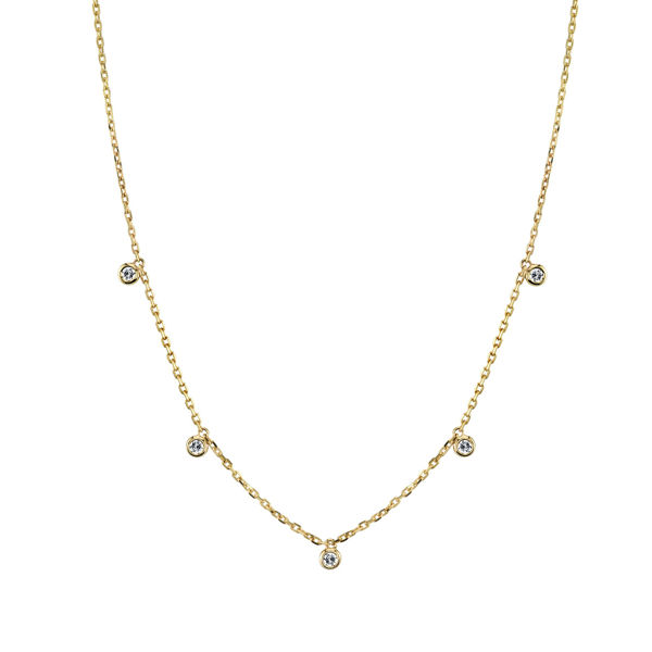 14kt Yellow Gold Cleopatra Bezel Set Diamond Necklace