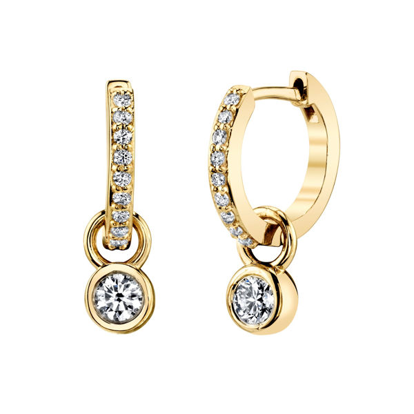 14kt Yellow Gold Two in One Diamond Hoop Earring