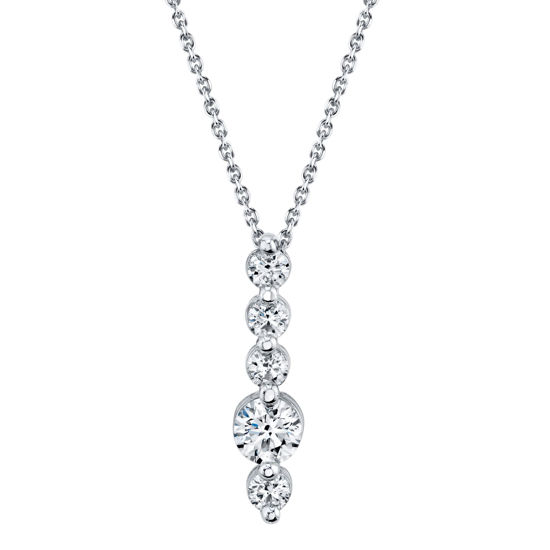 14kt White Gold Vertical Shared Prong Diamond Bar Pendant