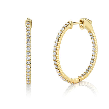 14kt Yellow Gold Inside Out Diamond Hoop