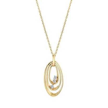 14kt Yellow Gold Triple Oval Diamond Pendant