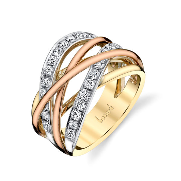 14kt Tri-Tone Intertwined Diamond Ring