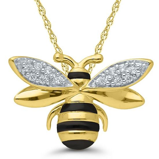 """10kt Yellow Gold """"Bee Mine"""" Diamond Bumble Bee Necklace"""